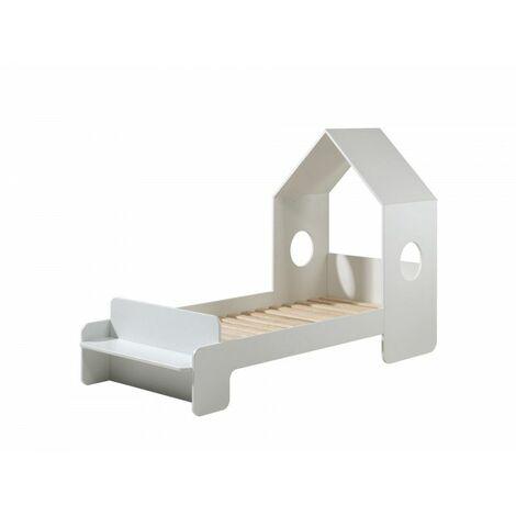 Lit cabane enfant moderne blanc laqué Lolita 90 x 200 cm - Blanc