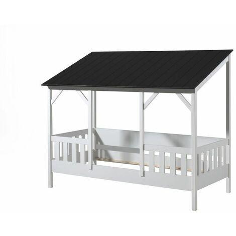 Lit cabane enfant moderne pin massif laqué blanc Madison