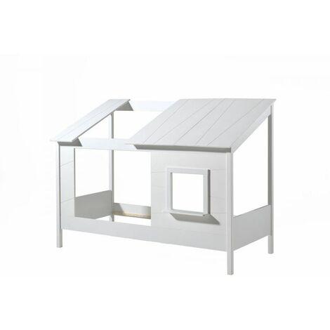Lit cabane enfant moderne pin massif laqué blanc Madison II - Blanc