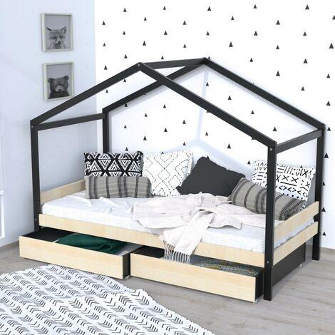 Lit cabane ETOILE 90x190cm + 2 tiroirs / Brut et noir/