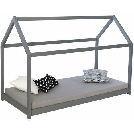 Lit cabane pour enfant en forme de maison en bois gris avec sommier à lattes 80x160 cm - or