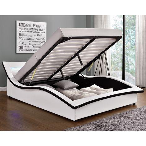 Lit Camden - Structure de lit en simili blanc avec coffre et LED intégrées - 140x190 cm
