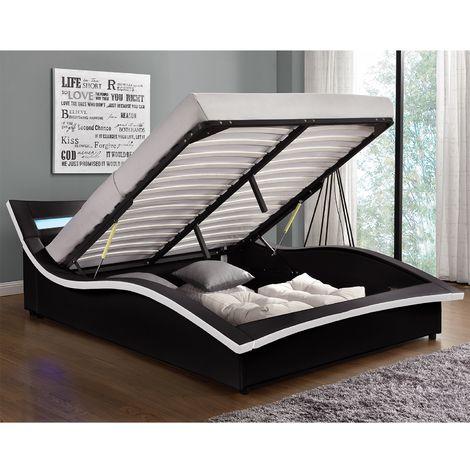 Lit Camden - Structure de lit en simili noir avec coffre et LED intégrées - 140x190 cm