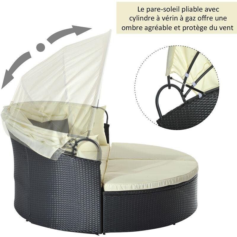 Lit canapé de jardin modulable grand confort pare-soleil pliable ...