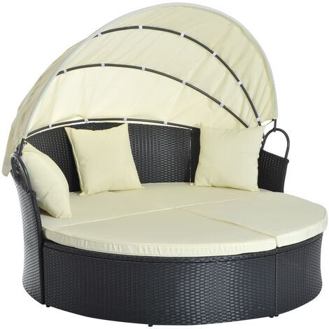 Lit canapé de jardin modulable grand confort pare-soleil pliable intégré 4 coussins 3 oreillers 171L x 180l x 155H cm métal résine tressée polyester noir beige