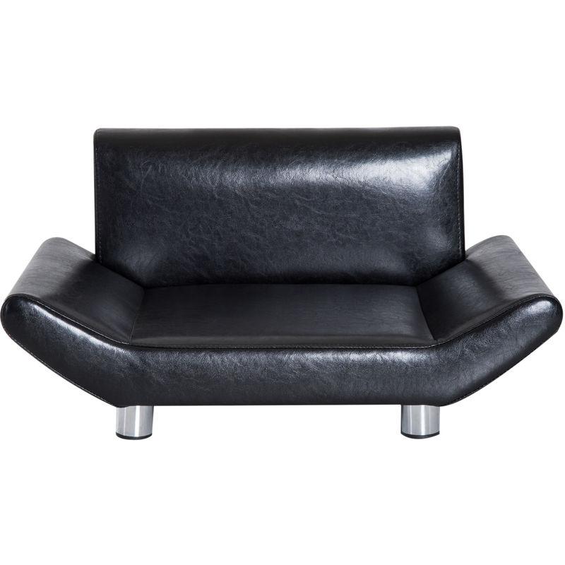 Lit Canapé Design Contemporain Pour Chiens Chats 72l X 45l X 35h Cm Métal Simili Cuir Noir