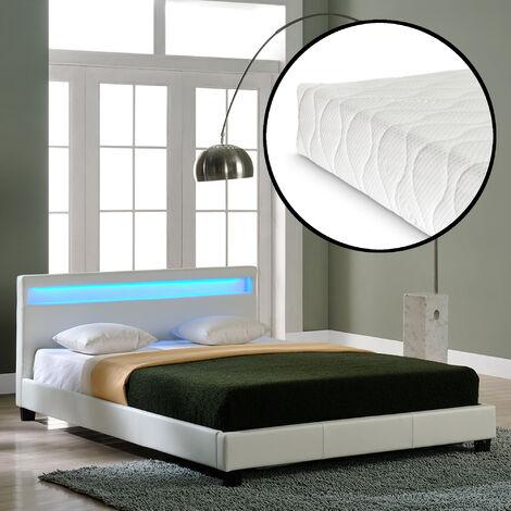 Lit capitonné à LED de (Paris) avec matelas (200x200cm)(blanc)(mousse froide) - avec cuir synthétique / housse en cuir synthétique / éclairage RVB / avec sommier à lattes /