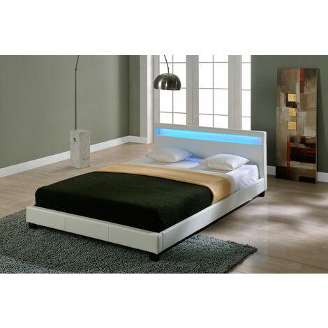 Lit capitonné à LED de (Paris) (XXL)(blanc)(200x200cm) lit moderne / cuir synthétique / avec lattes / lit double / sans matela
