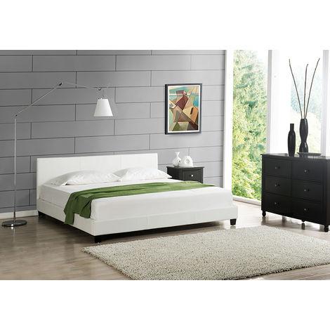 lit capitonné 'Barcelona' (140 x 200cm)(blanc)- avec cuir synthétique , housse en cuir synthétique, moderne, avec sommier à lattes