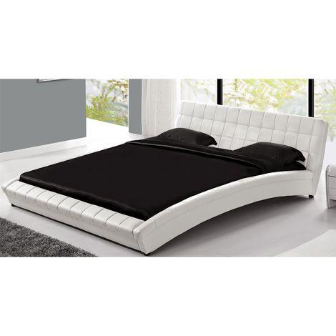 Lit Chelsea - Cadre de lit en simili capitonné Blanc - 140x190cm