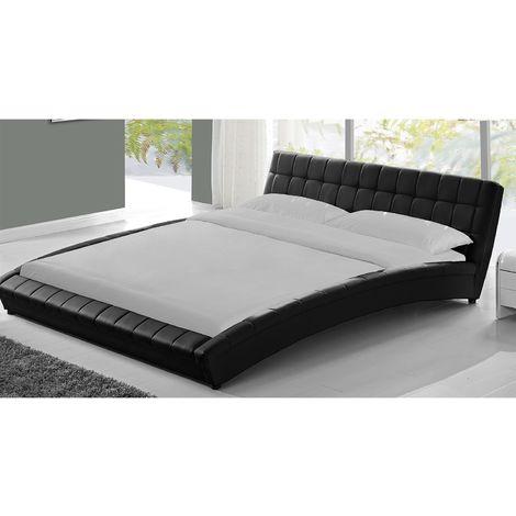 Lit Chelsea - Cadre de lit en simili capitonné Noir - 140x190cm