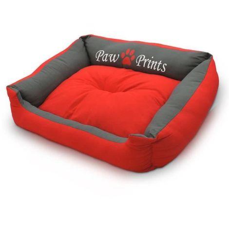 Lit chien Panier Corbeille Niche Coussin Matelas pour chien avec coussin réversible extra doux Taille : XL Rouge