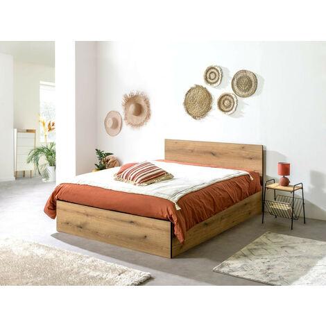 Lit coffre 140x190 cm JULIEN bois rustique - Marron