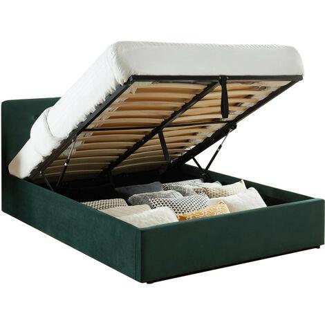 Lit coffre 140x190 en velours vert avec tête de lit et sommier à lattes - Collection Tina - Vert