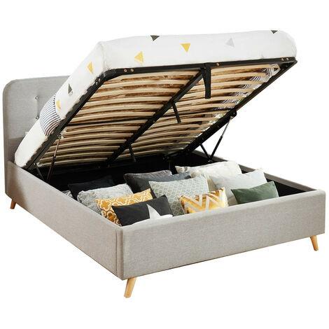 Lit coffre 140x190 gris clair avec tête de lit et sommier à lattes relevable - Collection Léo - Gris