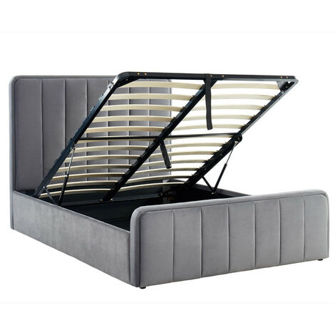 Lit coffre 140x190cm en velours gris anthracite avec tête de lit + sommier à lattes - Collection Bold - Gris