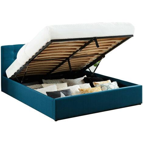 Lit coffre 160x200 en tissu bleu canard avec tête de lit et sommier à lattes - Collection Tina - Bleu