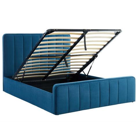Lit coffre 160x200cm en velours bleu canard avec tête de lit + sommier à lattes - Collection Bold - Bleu