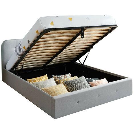 Lit coffre 180x200 cm gris clair avec tête de lit + sommier à lattes - Collection Kate - Gris