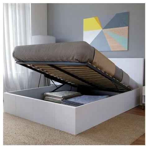 Lit coffre BARCELONA 140x190 + 1 sommier / Blanc/ 200x155x88 cm