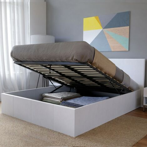 Lit coffre BARCELONA 160x200 + 1 sommier / Blanc/