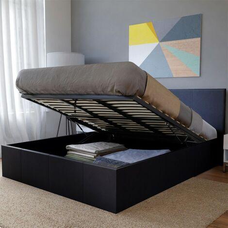 Lit coffre BARCELONA 160x200 + 1 sommier / Noir/