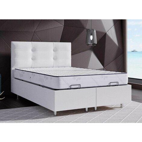 Lit coffre blanc 140 X 190 cm STECY