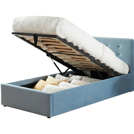 Lit coffre enfant 90x190 en velours bleu avec tête de lit, sommier à lattes et rangement - Collection Tina - Bleu