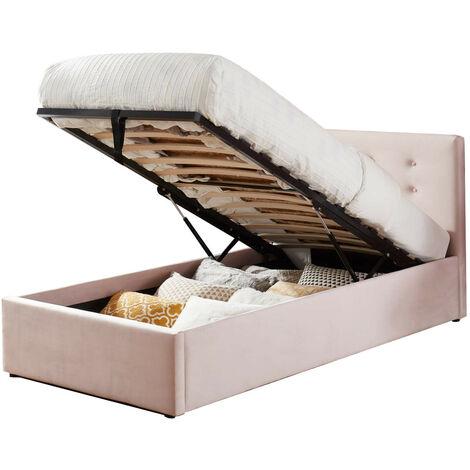 Lit coffre enfant 90x190 en velours rose poudré avec tête de lit, sommier à lattes et rangement - Collection Tina - Rose
