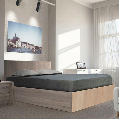 Lit coffre MADRID 140x190 + 1 sommier + 1 matelas mémoire de forme / Chêne Blanchi