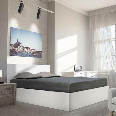 Lit coffre MADRID 140x190 + 1 sommier / Blanc/