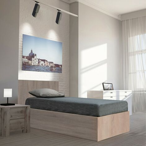 Lit coffre MADRID 90x190 + 1 sommier / Chêne Blanchi/