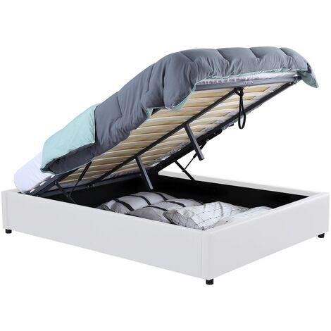 Lit coffre MIAMI PVC blanc avec sommier 140x190cm
