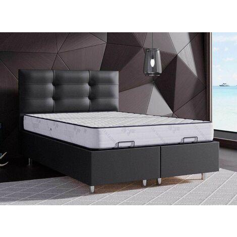 Lit coffre noir 140 X 190 cm STECY