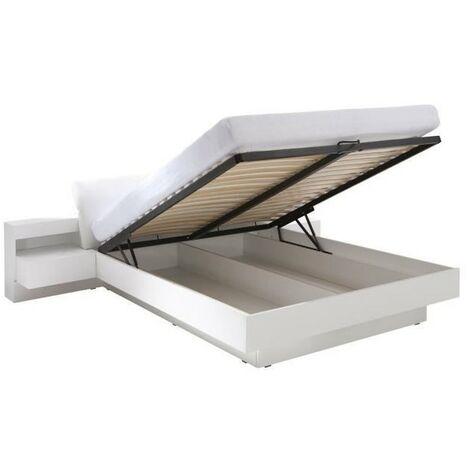 Lit coffre RENATO + sommier + tables de chevet intégrées avec LED, couchage 160x200 cm - Blanc