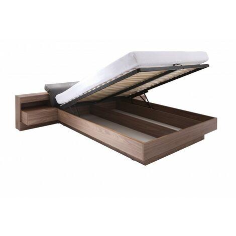 Lit coffre RENATO + sommier + tables de chevet intégrées avec LED, couchage 160x200 cm. Idéal pour votre chambre. - Marron