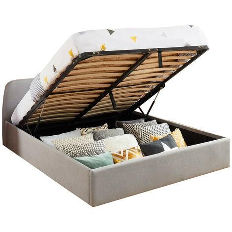 Lit coffre scandinave 140x190 gris clair avec tête de lit + sommier à lattes - Collection Lena. - Gris