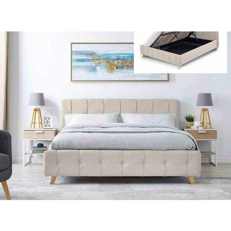 Lit coffre scandinave avec le sommier relevable en tissu beige 160 x 200 cm ASTER