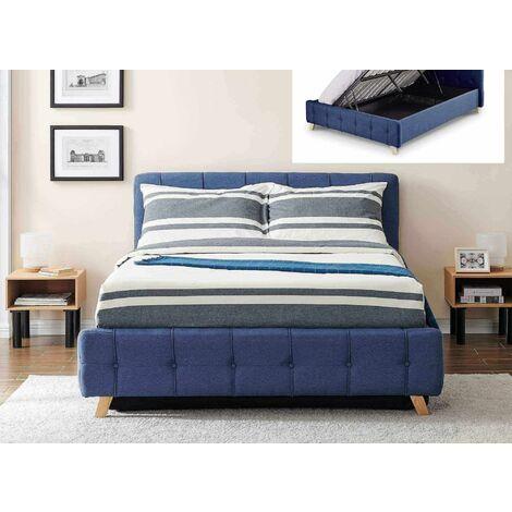 Lit coffre scandinave avec le sommier relevable en tissu bleu 140 x 190 cm ASTER