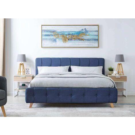 Lit coffre scandinave avec le sommier relevable en tissu bleu 160 x 200 cm ASTER