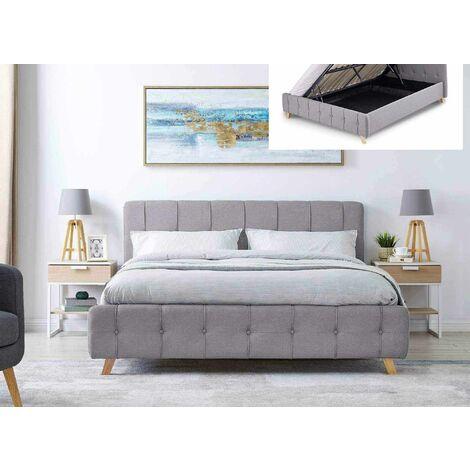 Lit coffre scandinave avec le sommier relevable en tissu gris 160 x 200 cm ASTER