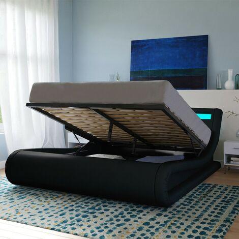 Lit coffre SURF 140x190 LEDS intégrées + 1 sommier / Noir