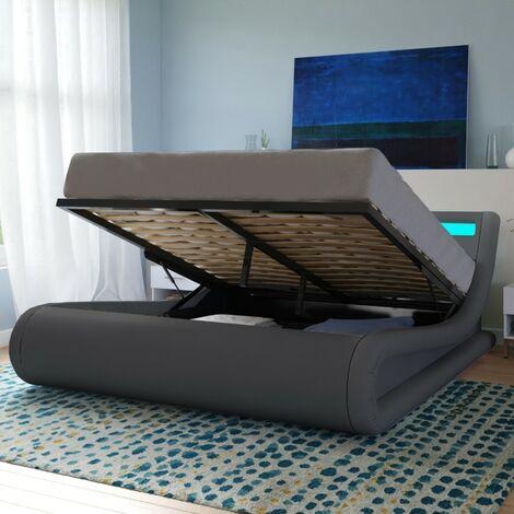 Lit coffre SURF 160x200 LEDS intégrées + 1 sommier / Gris/