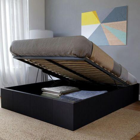 Lit coffre TORINO 140x190 + 1 sommier / Noir/ 200x155x32 cm