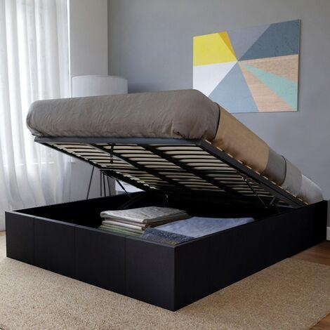 Lit coffre TORINO 160x200 + 1 sommier / Noir/