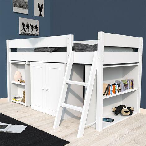 Lit combiné TINO 90x190 + 1 sommier + bureau + armoirette + étagère / Laqué blanc
