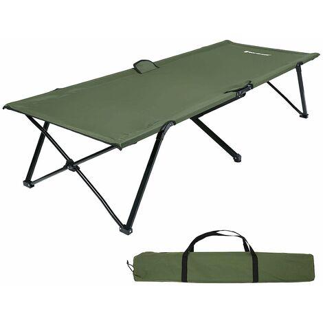 Lit de camp Lit d'appoint Pliant Solide Confortable Pour les activités en plein air Camping Randonnée Charge max 240kg 210 x 72cm Noir/Vert/Bleu