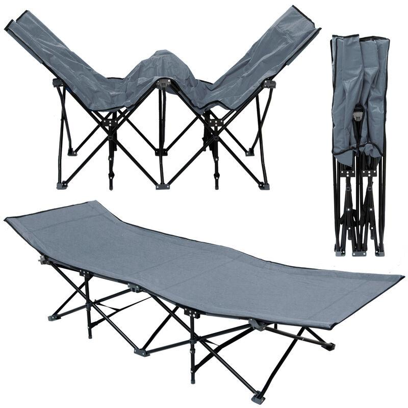 Lit de camp pliable de portable avec sac incl | idéal pour faire du camping voyager se bronzer | structure en acier 190x70cm 10 pieds | Gris - Amanka