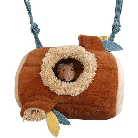 Lit de hamster, grotte de nid en peluche de hamac d'hiver, cabane de câlins de jouets suspendus pour animaux de compagnie, nid de hamster en coton chaud, petit lieu de couchage pour écureuil Chinchilla cochon d'Inde Rat