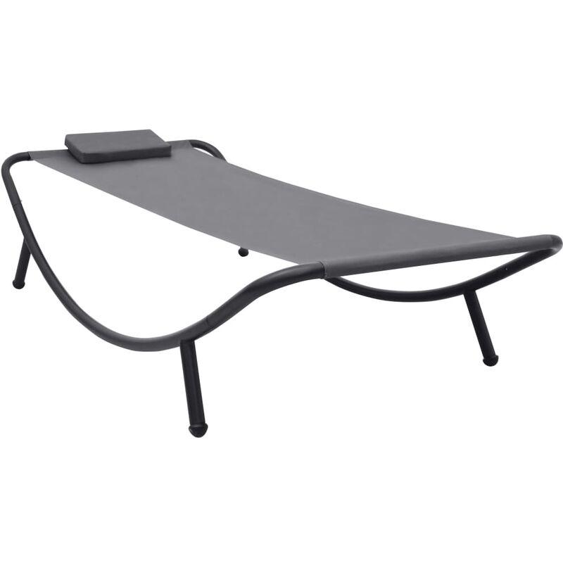 Lit de jardin Lit de plage chaise longue Gris 200x90 cm Acier